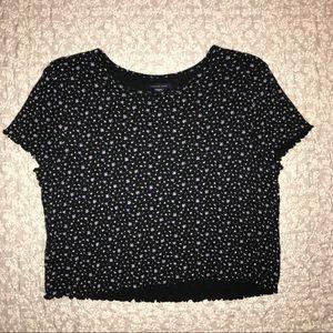 Black Floral Crop Top